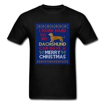 I Work Hard So my Dachshund Can have Merry Christmas T-Shirts - Men's Top Tee