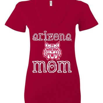 Official NCAA Venley University of Arizona Wildcats U of A Wilber Wildcat BEAR DOWN! Mom Ladies Deep V-Neck - uofa2422