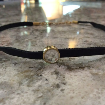 Soft Thin Black Leather Choker Adjustable Necklace Gold Rhinestone Charm Trendy Jewelry Women's Collar chocker Goth Elegant Dressy