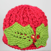 First Christmas newborn crochet beanie with knitted holly leaves and rhinestones, holiday, dressy, green and red, 0-3 months