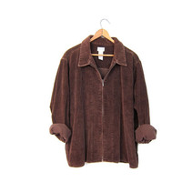 Brown Corduroy Jacket 90s Grunge Cotton Ribbed Shirt Cropped Zip Up Coat 1990s Vintage Women's Size XL Extra Large Preppy Coat DELLS