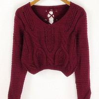 Cable Knit Openwork Dropped-Waist Blend Solid Color Short Sweater
