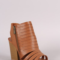 Qupid Slashed Chunky Mule Heel