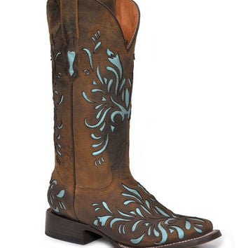 Stetson Boots Women's Laser Mad Dog Goat With Light Blue Inlay Boot