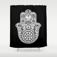 Hamsa Black & White Hand Eye Indian Buddha Ganesh Shower Curtain by CPT HOME