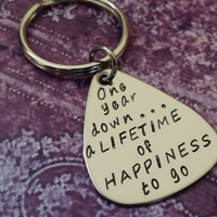 One year down...a lifetime to go Keychain