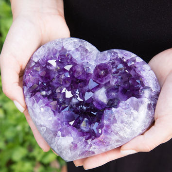Amethyst Crystal Geode Heart – One Of A Kind