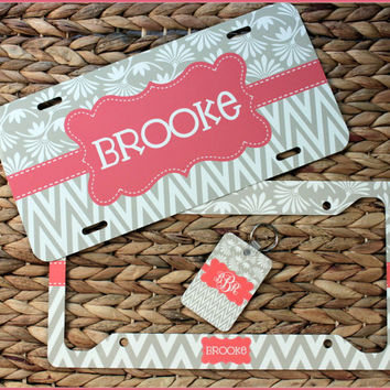 Gift Set Front License Plate Frame + Key Chain + Custom License Plate Monogrammed Personalized Cute Car Accessories For Women