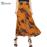 Alecstis Spring High Waist Boho Print Skirts Womens Split Maxi Skirt Floral Beach Skirt Female Chic Vintage Summer Skirt Long