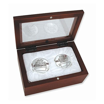 Babys My First Curl and My First Tooth Silver Keepsake Box Set