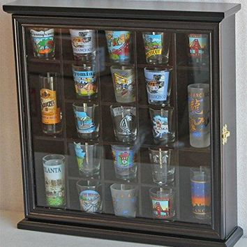 21 Shot Glass Shooter Display Case Holder Rack Wall Cabinet, Glass Door, SC01 (Black Finish)