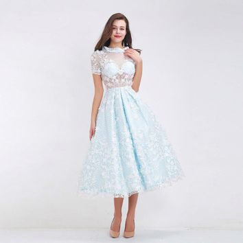 Elegant Prom Dresses for Girl New High Neck Flower Illusion A-Line Tea-Length Homecoming Party Dress Light Blue