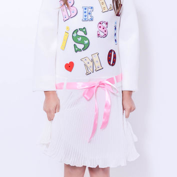 "Koma-Va Girl's White  ""Bellisimo"" L/S dress with Pleated Skirt"