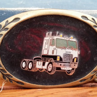 Vintage Round Truck Big Rig Brass Belt Buckle Great Vintage Style Heritage Buckles Made in Taiwan