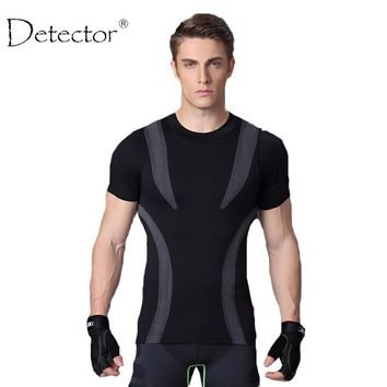 Detector Sport Man Fitness Mens Shirt Crossfit T-shirt Running Breathable Quick-Drying Stretch Tops T-shirt Cool Gym Clothing