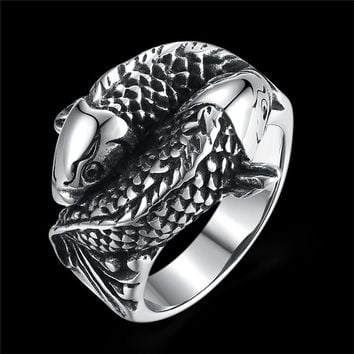 New Arrival 316L Pure Titanium Steel Fish Shape Finger Ring Cool Men Punk Jewelry Christmas Gift Size 8-12 Rings For Men