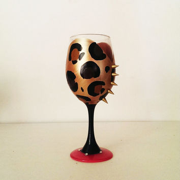 Leopard couture wine glass  - gold spikes - hot pink base - rhinestones - 20 oz