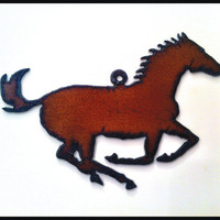 Rustic, Recycled Metal Running Horse, Cowboy, Rodeo Large Pendant Charm Christmas Ornament Jewelry Supplies