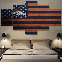 Denver Broncos Football American Flag
