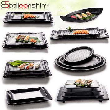 BalleenShiny Black Melamine Frosted Dishes Imitation Porcelain Tableware Restaurant Food Snacks Sushi Fish Plate  Dinnerware