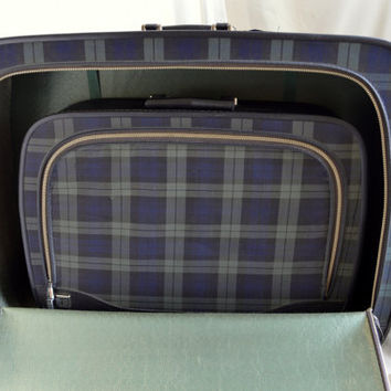 Vintage Green and Blue Tartan Plaid Leeds Suitcase Carryon