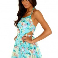 Missguided - Misty Floral Cut Out Skater Dress In Mint