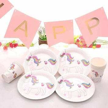 10pcs rainbow Unicorn Theme party Paper Plates Dishes cup Kid boy girl first Birthday Baby Shower Gender Reveal decoration Favor