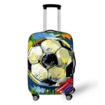 Foot Ball Print Suitcase Protective Covers Fire Trolley Luggage Protector for Man Boy Travel Accessories Elastic Dustproof Cover