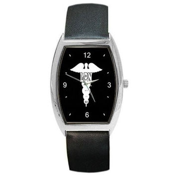 LPN Nurse Caduseus on a Womens or Mens Barrel Watch with Leather Band
