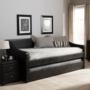 Baxton Studio Barnstorm Modern and Contemporary Black Faux Leather Upholstered Daybed with Guest Trundle Bed Set of 1