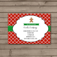 Christmas Gingerbread Man Holiday Cookie Exchange Invitations