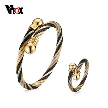 Vnox Twisted Cable Cuff Bangle Bracelet/Ring Jewelry Sets for Women VNOX Punk Surgical Steel Jewelry Sets Adjustable Size