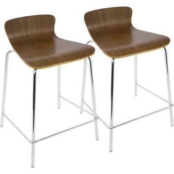 Woodstacker Stackable Contemporary Counter Stools, Walnut (Set of 2)