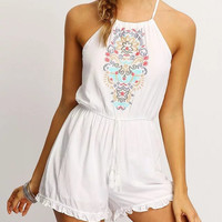 Halter Embroidered Flounce Hem Romper With Drawstring