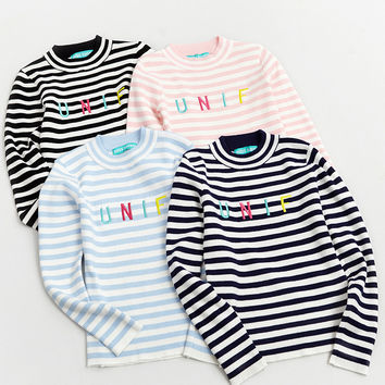 Women UNIF Letters Embroidery Striped Sweaters Stylenanda Korean Fashion Knitted Wool Blend Thick Warm Pullover Jumpers Sueter