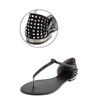 Bamboo Bloom55 Black Rhinestone Back T-Strap Sandals and Womens Fashion Clothing & Shoes - Make Me Chic