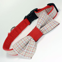 Red and Tan Plaid Dog Collar with Bow Tie Red by CoopersCollars, Upcycled, Repurposed, Handmade