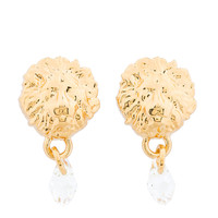 Versus Gold Lion Medallion And Crystal Stud Earrings