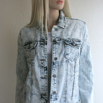 Acid Wash Denim Slightly Distressed Jean Jacket Available in Small, Medium & Large