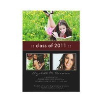 Photo Trio Custom Graduation Announcement (maroon) from Zazzle.com