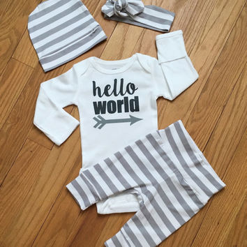 Newborn Baby Gender Neutral coming home outfit Gray and White Stripe theme going home set hello world baby shower gift coming home from the