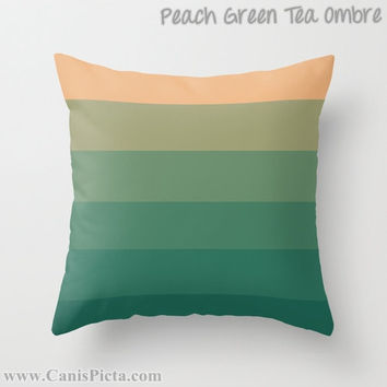 OMBRE Throw Pillow 16x16 Graphic Print Cover Bright Dark Vibrant Couch Art Home Decor Design Green Purple Blue Lavender Aqua Pink Lime Peach