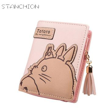 STANCHION Women Wallet Cartoon Animation Small Leather Wallet Cute Totoro Tassels Zipper Clutch Coin Purse Card Holder