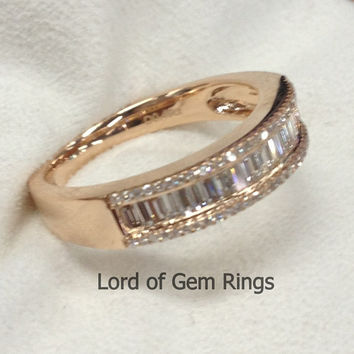 VS1 Baguette/Round Cut Diamond Ring, .65ct Diamonds Half Eternity Wedding Band,14K Yellow Gold Anniversary Ring
