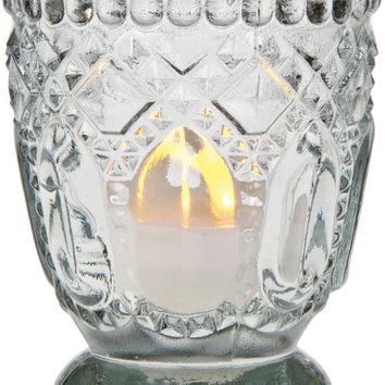 Vintage Glass Candle Holder (fancy faceted design) - Clear