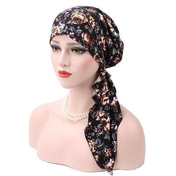 Muslim Turban Cap Women Printing Elastic Cap Scarf Chemo Hats For Women Skullies Beanies