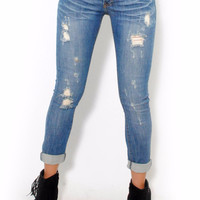 (alu) Machine Button up stretch boyfriend jeans