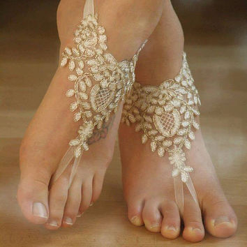 Free Ship  ivory gold frame, pearl beaded Beach, wedding barefoot sandals, Ivory Barefoot Sandals, Sexy, Anklet , Bellydance, Steampunk,