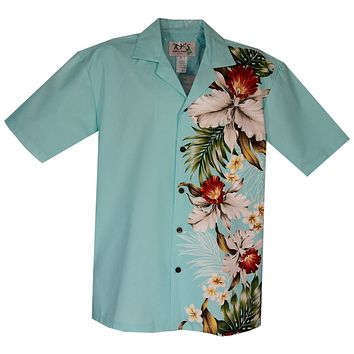 Orchid Plumeria Teal Vertical Border Hawaiian Shirt