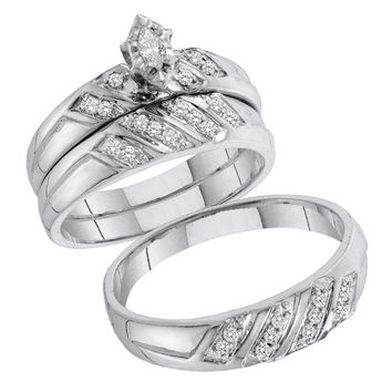 10kt White Gold His & Hers Marquise Diamond Solitaire Matching Bridal Wedding Ring Band Set 1/4 Cttw